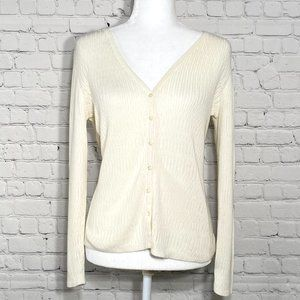 J.Jill V-neck Cardigan Cotton Cream Button Down
